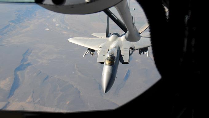 KC-135 Stratotanker refuels F-15 Eagle